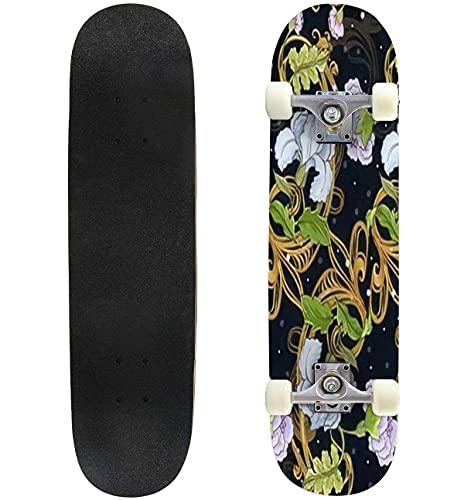 """Floral Ornament with Baroque Pattern on a Dark Background Skateboard 31""""x8"""" Double-Warped Skateboards Outdoor Street Sports Skateboard for Beginners Professionals Cool Adult Teen Gifts"""