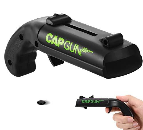 L&H Gadgets Flaschenöffner Pistole, Firing Cap Opener [Startstrecke 5-6m/ Größe: 13x5x4 cm] Bierdeckel Pistole - Cap Gun Flaschenöffner Original (Schwarz, 1 STK)
