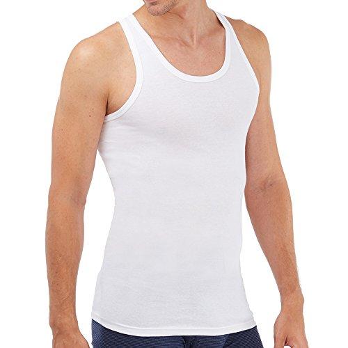 SCHÖLLER Herren Unterhemd ohne Arm Feinripp 5er Pack l 916-610 l Größe 6 (L) l Farbe Weiß