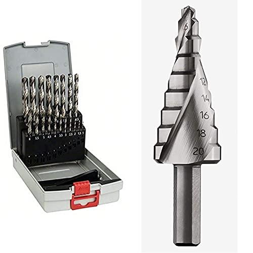 Bosch Professional 19-Piece ProBox HSS-G Metal Drill Bit Set (Cut, Accessories for Drill Drivers and Drill Stands) + Bosch Professional 260925C138 HSS Step Bit