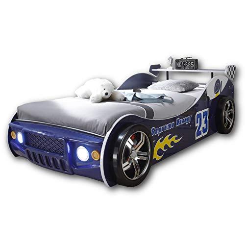 Stella Trading ENERGY Autobett mit LED-Beleuchtung 90 x 200 cm - Aufregendes Auto Kinderbett für kleine Rennfahrer in Rot, Blau oder Schwarz - 105 x 60 x 225 cm (B/H/T)