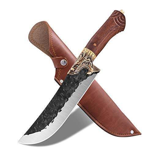 Kitchen Chef Knife Outdoor Camping Knife with Leather Sheath Forged Cleaver Butcher Boning Knives for Home Gift Collection BBQ