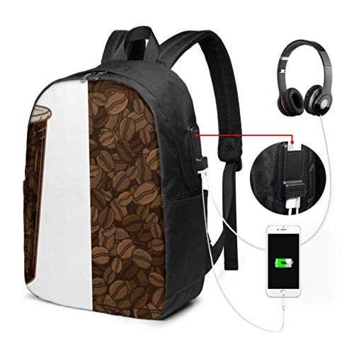 Bag for Travel Coffee Beans Fragrant Travel Laptop Backpack for Men with USB Charging Port and Headphone Port for College Work Travel