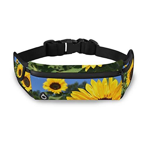 PINLLG Sunflower Field Sac Banane de Course à Pied réglable pour Homme et Femme Motif Floral Jaune