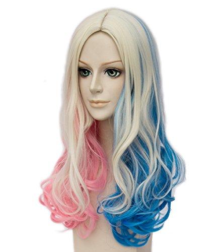 Harley Quinn Perücke Lang Cosplay Perücke, Lockig Damen Perücke mit Perücke-Kappe, Blond Blau Rosa Perücken für Karneval Halloween Fasching Kostüme Party