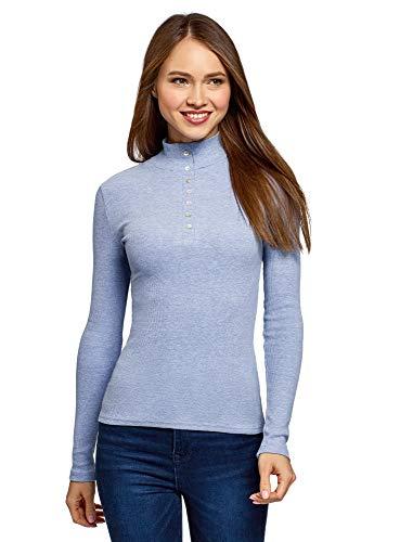 oodji Ultra Damen Baumwoll-Pullover mit Knopfverschluss, Blau, DE 34 / EU 36 / XS