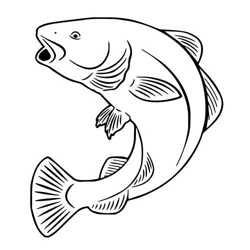 A/X 14 CM * 15,9 CM Bacalao Pescado Pesca en el mar Vinilo Arte Coche Pegatina Negro/Plata C24-0477Negro