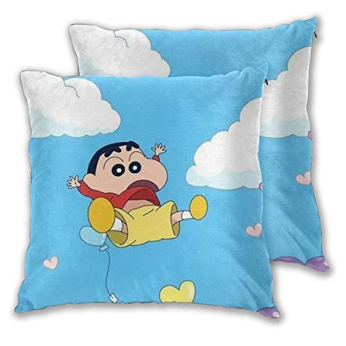 MISS-YAN Love Crayon Shin-Chan Deko-Kissenbezug, weich, dekorativ, für Bett/Stuhl/Couch, 2 Stück