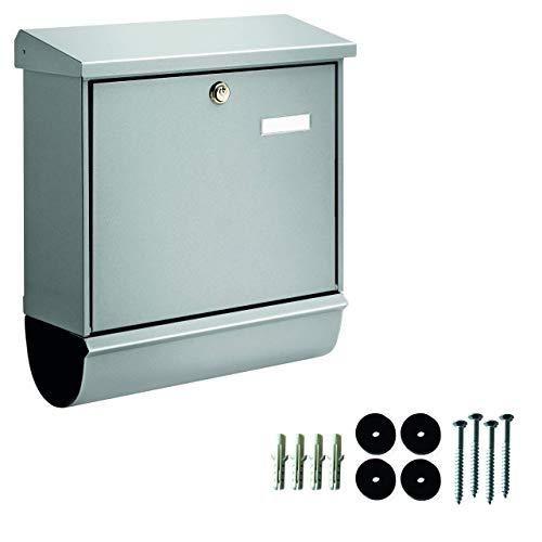 BURG-WÄCHTER, Briefkasten-Set mit integriertem Zeitungsfach, A4 Einwurf-Format, Verzinkter Stahl, Comfort-Set 91300 Si, Silber - 6