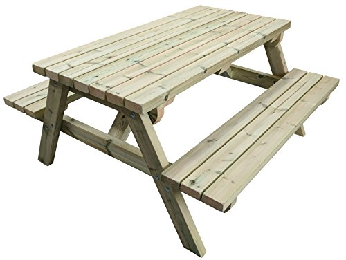MG Timber Products Heavy Duty 6FT Wooden Picnic Table Made With Chunky Furniture Grade Swedish Redwood. Pressure Treated to Resist Weather for 15 Years. Extremely Strong & Sturdy.