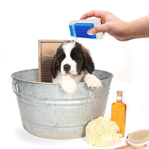 Myuilor 2 in 1 Pet Brush Bath Massage Brush,Shampoo Dispenser for Pet,New Grooming Pet Shampoo Brush,Soothing Massage Rubber Bristles Curry Comb for Dogs & Cats Washing.Massaging Long (Bule)