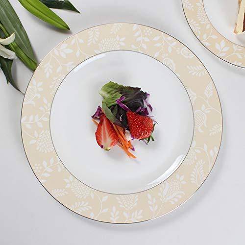 CJW Assiette en porcelaine tendre de luxe à la French Light - Ensemble de deux assiettes occidentales pour le petit-déjeuner argenté (Taille : 26cm)