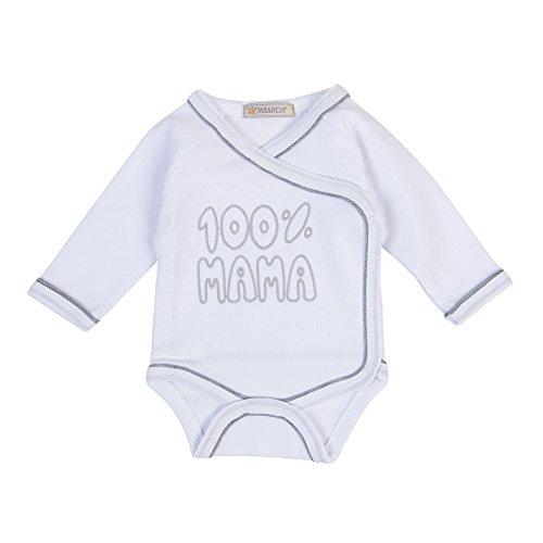Milarda Body para bebé, 100% mamá, color blanco y gris blanco-gris 6 mes