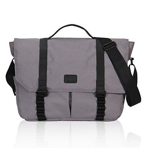 Hynes Eagle Messenger Bag for Men Travel Crossbody Shoulder Laptop Bag 14 Inch Calm Grey