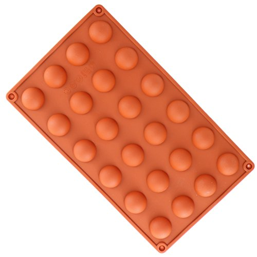 YooHome - Molde para chocolate de silicona alimentaria, flexible, antiadherente, 24 huecos de semi esfera, para chocolate, pasta, pastel fondant, hielo, etc.