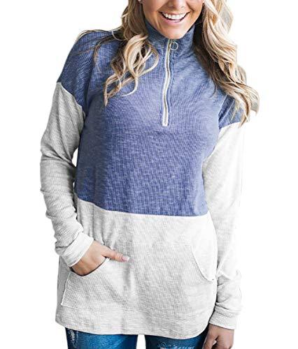 Camisas Mujer Pullover Otoño Primavera Fashion Simple Chic High Estilo Collar con Cremallera Sudadera Elegante Vintage Manga Larga con Bolsillos Streetwear Swag Tops Sudaderas