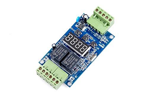 2-Channel Motor Forward Reverse Relay Control Module AC 110V (227V MAX) DC 12V 24V (30V MAX) 10A 0.1s to 999 min Adjustable 0-999 cycles Digital Display (DC 12V)