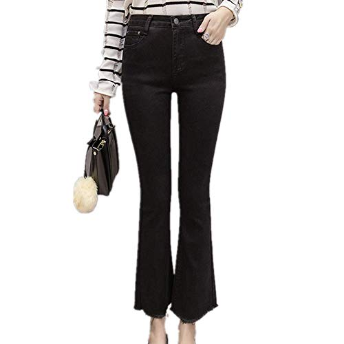 UHFIA Flared Pants Cropped Pants Korean Spring Elastic Slim Hair Edge Micro Flared Jeans Black