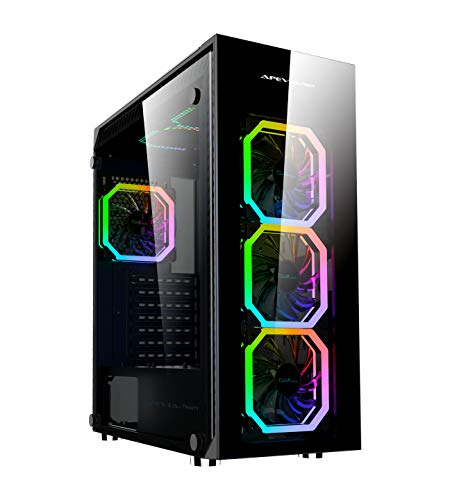 Apevia Trinity-PH Mid Tower Gaming Case with 4 x Full-Size Tempered Glass Panels, Top USB3.0/USB2.0/Audio Ports, 6 x RGB Fans