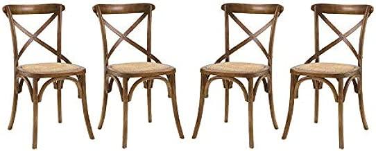 Modway Gear Rustic Modern Farmhouse Elm Wood Rattan Four Dining Chairs in Walnut