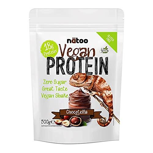 NATOO Vegan Protein 500g Gusto Cioccotella – Mix di Proteine Vegetali di Alta Qualità da Proteine Isolate del Pisello e del Riso – 18g di Proteine per Porzione