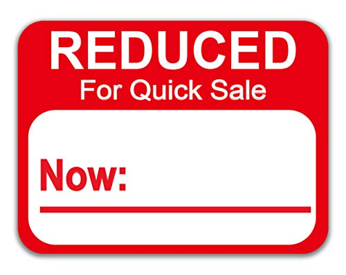 """Reduced Stickers Price Labels 500 Pcs/Roll - 1.8"""" X 2"""" Price Reduced Retail Labels Stickers (Red)"""
