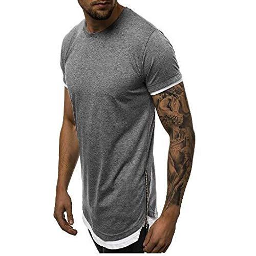 Camiseta de Manga Corta con Cremallera Lateral Cosida para Hombre Moda Cuello Redondo Slim Fit Color sólido Deportes Ocio Tops básicos de Todo fósforo M