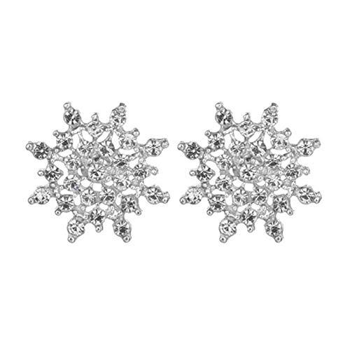 Ruby569y Pendientes colgantes para mujeres y niñas, pendientes de copo de nieve con diamantes de imitación para mujer, regalo de Navidad, plata