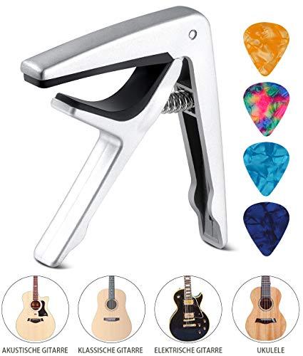 Kapodaster Gitarre Capo für Akustische Gitarre, E-Gitarre, Westerngitarre, Akustikgitarre, Konzertgitarre, Bass, Ukulele Mit Zufällig 4 Plektren