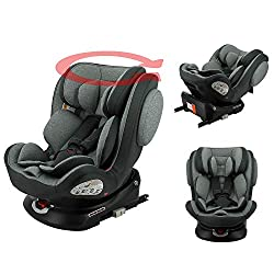 Group 0+/1/2/3 isofix car seat for children from birth to 36kg (up to 10 years), approved according to ECE R44/04 Car seat swivels 360° only in the rear seat, for easier installation. It is positioned DOS at the road up to 18kg, and facing the road f...