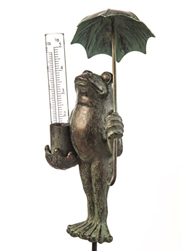 "Evergreen Garden Decorative Polystone and Metal Frog Statue with a Glass Rain Gauge - 4"" W x 4"" D x 18"" H"