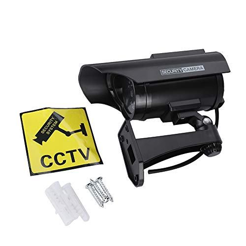 Best Deals! Xinwoer Professional Solar Powered Fake Camera Outdoor Security Camera LED Record(Black)