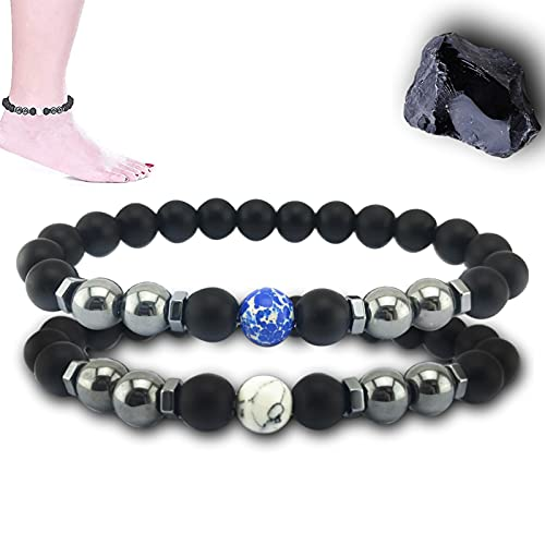 Anti-Swelling Black Obsidian Anklet,Women's Magnetic Bracelet,Adjustable Weight Loss Anklet,Natural Stone Prayer Mala Beads,Health Care Gift,Black Obsidian Anklet for Women