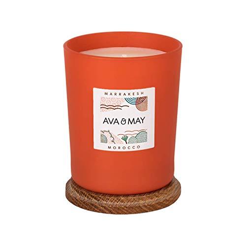 AVA & MAY Marrakesh Duftkerze (180g) – vegane Kerze im Glas mit holzig-aromatischen Düften von Sandelholz, Mandel und Zimt – Handgemachte Kerze mit Abenteuerfeeling