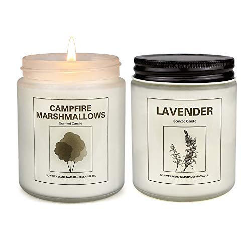 Marshmallow and Lavender Candles for Home Scented, Aromatherapy Candle 2 pcs, Soy Wax Candle Set, Women Mother's Day Gift with Strongly Fragrance Jar Candles