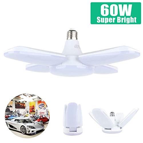 60W Lampada da Garage a LED, Deformabile Illuminazione da Garage con 4  Pannelli Regolabili, per Garage, Magazzino, Officina, Cantina, Palestra,  Cucina ...