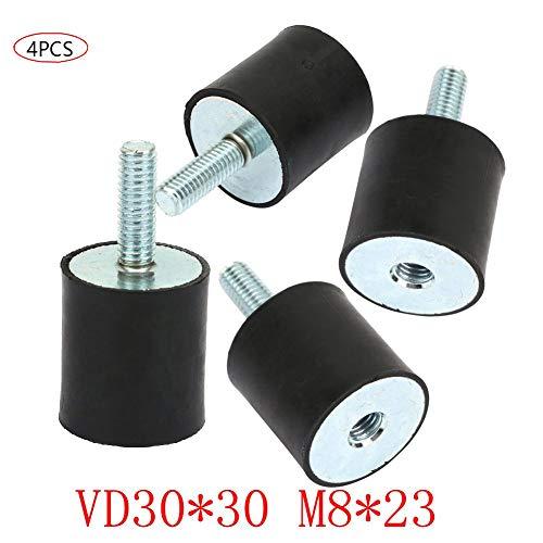 Gummi Motorlager, 4 Stück M8 Doppelendschraube Silentblock Anti-Vibrations-Montage, Für Luftkompressoren, Dieselmotoren, Benzinmotoren, Wasserpumpen(VD30 * 30 M8 * 23)