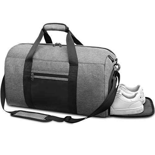 NEWHEY Sporttasche Herren mit Schuhfach Reisetasche Gym Fitness Handgepäck Groß Weekender Trainingstasche für Männer Frauen 40 Liter Grau