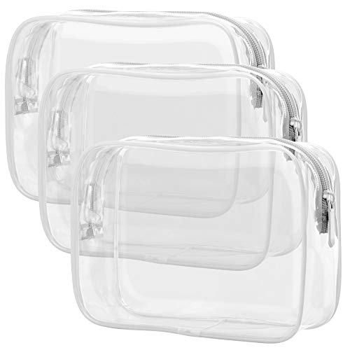 Clear Toiletry Bag, Packism 3 Pack TSA Approved Toiletry Bag Quart Size Bag, Travel Makeup Cosmetic Bag for Women Men, Carry on Airport Airline Compliant Bag, White