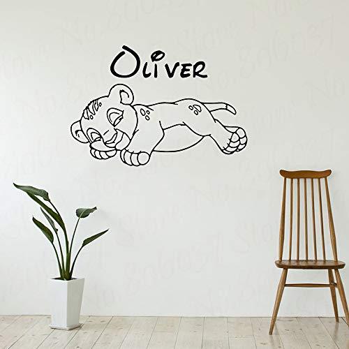 yaofale Nombre Personalizado Lion Wall Sticker Vinilo Decora