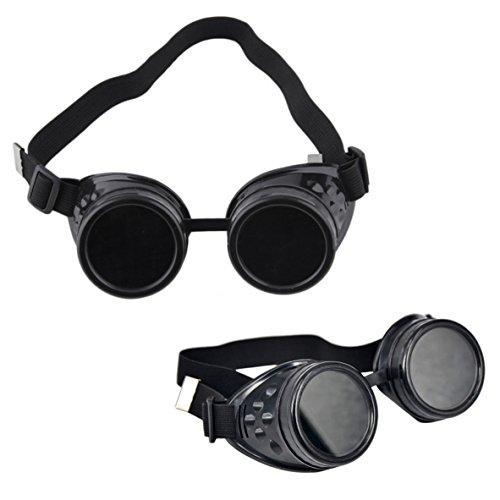 OFKPO Steampunk Sonnenbrillen,Vintage Goggles Brille Motorradbrille Cosplay Brille(Schwarz)