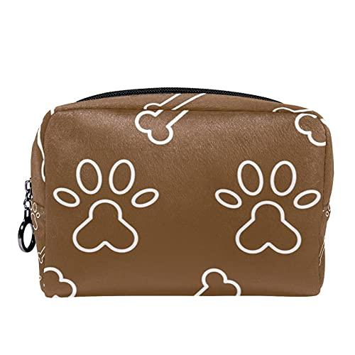 Bolsa de maquillaje de viaje con estampado de huellas de perro, color marrón, 17,3 x 7,3 x 5,1 cm, bolsa de maquillaje, bolsa de maquillaje, bolsa de cosméticos de viaje