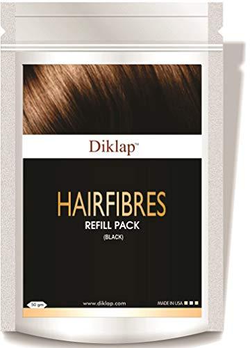 Diklap Hair Building Fiber Refill (Hair Concealer) Black, Pack of 1(50gm) Use For Caboki, Toppik, Looks 21,Rebuild Hair Fiber etc.