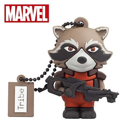 Oferta de Llave USB 16 GB Rocket Raccoon - Memoria Flash Drive 2.0 Original Marvel Avengers, Tribe FD035503