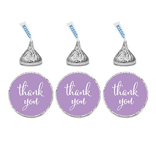 Andaz Press Chocolate Drop Labels Stickers, Thank You, Lavender, 216-Pack, for Wedding Birthday Party Baby Bridal Shower Kisses Party Favors Decor Envelope Seals