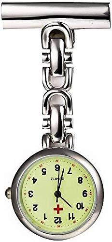 HCFSUK Médico de enfermería de atención médica, Reloj de Enfermera Grande y Brillante, Reloj Colgante, Reloj de Bolsillo Retro, Regalo, Pin de Solapa de Enfermera, Reloj Colgante con Clip