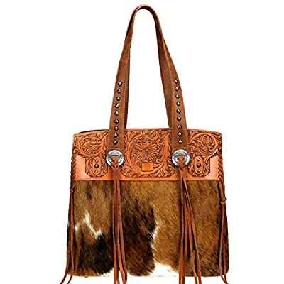 Trinity Ranch by Montana West Handbags Western Hair on Partial Leather Tote w/Tassels (Brown)