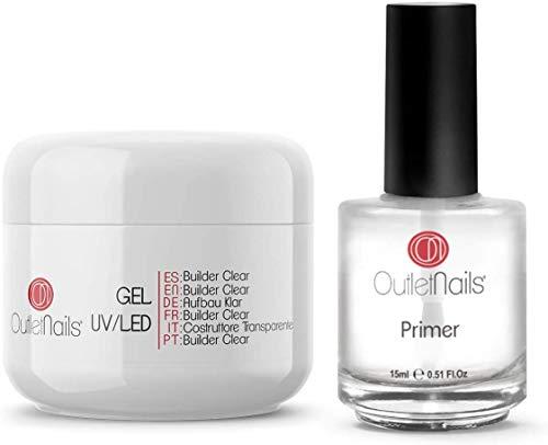 UV Gel Builder Clear 50ml + Primer 15ml sin acido | Ideal para centros de uñas de gel | Outlet Nails