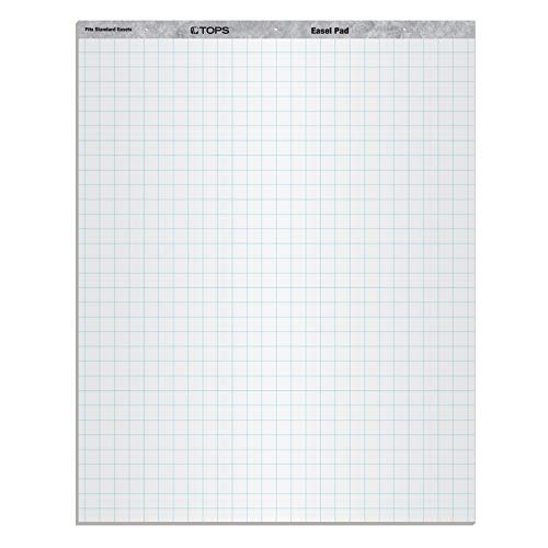 """TOPS Standard Easel Pads, 3-Hole Punched, 27 x 34 Inch, 1"""" Grid, White, 50 Sheets/Pad, Carton of 2 Pads (7902)"""