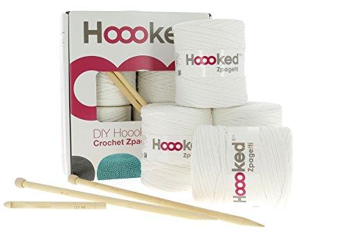 Hoooked Zpagetti Knit und Crochet Pouf Kit, anthrazit, Baumwolle, gebrochenes weiß, 34 x 31 x 16 cm